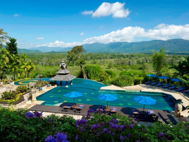 Anantara Golden Triangle pool with view