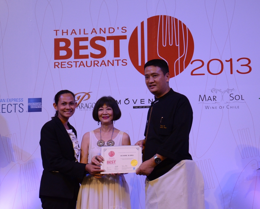 VIE Wine & Grill awarded as Thailand's Best Restaurants 2013